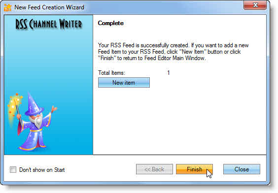 RSS creation wizard